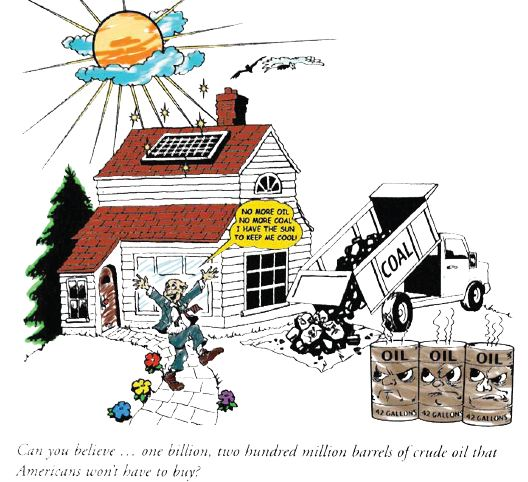 Cartoon drawing: solar panels on house